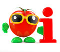 D tomato information render of a with an symbol Stock Image