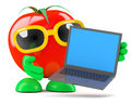 D tomato laptop render of a holding a Royalty Free Stock Image