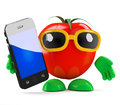 D tomato smartphone render of a with a Stock Photos