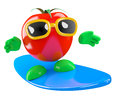 D tomato surfer render of a surfing on a sufrboard Stock Image