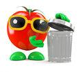 D tomato tidies up render of a with a rubbish bin Royalty Free Stock Photography