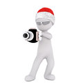3d Toon Figure In Santa Hat With Ray Gun On White