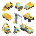 3d transport for construction industry. Vector isometric cars isolate