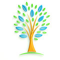D tree with blue and green leaves glossy illustration pink Stock Photography