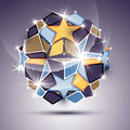 3D twinkle mirror ball with gold stars. Vector festive geometric Royalty Free Stock Photo