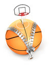 D unzip basket ball concept isolated white background Royalty Free Stock Photography