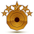 D vector classic royal symbol sophisticated golden round emble emblem with stars isolated on white background glossy aurum element Royalty Free Stock Photography