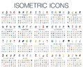 3d Vector. Illustration of isometric flat icons for business, bank, social media, justice, market, internet technology