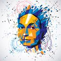 3d vector low poly portrait of a smart woman, human thoughts met