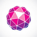 3d vector low poly purple spherical object, perspective orb crea