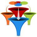 D venn diagram funnel chart Fotografia de Stock