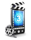 D video smartphone concept white background image Royalty Free Stock Photos