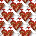 3d vintage love hearts vector seamless pattern. Ornamental elegance valentines day background. Gold hand drawn flowers, leaves, s