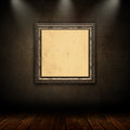 3D vintage picture frame in grunge interior Royalty Free Stock Photo