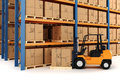 D warehouse and forklift on white Royalty Free Stock Images