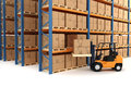 D warehouse and forklift on white Royalty Free Stock Photo