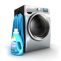 D washing machine and detergent bottle white background image Royalty Free Stock Image