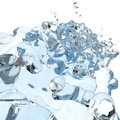 D water pouring splash in glass and on white Royalty Free Stock Photo