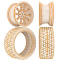 D wheel wire frame model car wheels in the background Royalty Free Stock Image