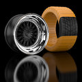 D wheels and tire tires in the background Royalty Free Stock Image