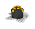3d white human hand holds black gift box. 3D illustration . Whit Royalty Free Stock Photo