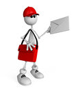 The d white mail carrier on springs delivers letters and parcels Royalty Free Stock Photos
