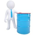 3d white man and a blue barrel Royalty Free Stock Photo