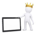 D white man with a crown holding a tablet pc render on background Stock Photography