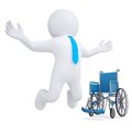 D white man got rid of the wheelchair isolated render on a white background Stock Photo