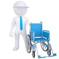 D white man got rid of the wheelchair isolated render on a white background Royalty Free Stock Photography