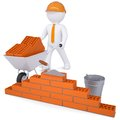 3d white man in a helmet builds a wall Royalty Free Stock Photo