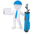 D white man holding a calendar with bag of golf clubsholding isolated render on background Royalty Free Stock Photo