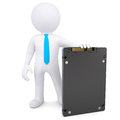 D white man holding a solid state drive render on background Stock Photo