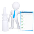 D white man near the nasal spray isolated render on a background Stock Image
