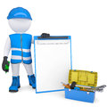 D white man in overalls with checklists and tools isolated render on a background Stock Images