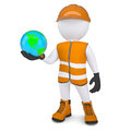 D white man in overalls holding the earth render on a background Royalty Free Stock Photos