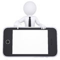 D white man points a finger to smartphone isolated render on background Royalty Free Stock Images