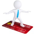 D white man standing on a credit card isolated render on a white background Royalty Free Stock Photo