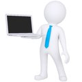 D white man standing with a laptop isolated render on a white background Royalty Free Stock Image