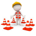 D white people as road worker with triangles rendered illustration of triangle Stock Photos