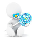 3d white people baby boy and a lollipop Royalty Free Stock Photo