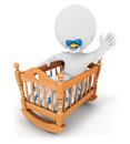 D white people baby cradle isolated white background d image Stock Photos