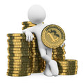 D white people bitcoin man leaning on a pile of bitcoins background Stock Photos