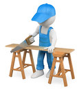 D white people carpenter cutting wood with a handsaw person background Royalty Free Stock Photography