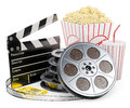 D white people cinema clapper film reel drink and popcorn tickets background Royalty Free Stock Photos