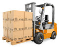 D white people forklift with a pallet person driving boxes in background Royalty Free Stock Photo