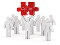 3d white people and red solution puzzle Royalty Free Stock Photo