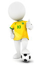 D white people soccer player with yellow jersey isolated background image Stock Photo