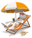 D white people sunbathing on a lounger person with refreshing drink background Stock Image