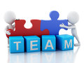 D white people work together team concept image with puzzle piece background Royalty Free Stock Images